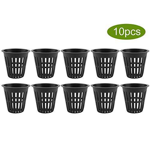 Wifehelper Hydroponic Basket, 10pcs/Set Bucket Basket Lid Garden Plastic Net Cups Pots Hydroponic Basket Cup Plant Net…