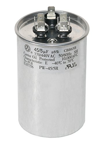 PowerWell 45+5 MFD 45/5 uf 370 or 440 Volt Dual Run Round Capacitor PW-45/5/R for Condenser Straight Cool or Heat Pump Air Conditioner - Guaranteed to Last 5 Years - Volt Compressor
