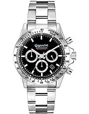 Gigandet Race King G33-002 Montre analogique à Quartz pour Homme avec Bracelet en Acier Inoxydable et Cadran Noir avec chronographe Affichage de la Date et Boucle déployante Noir/argenté