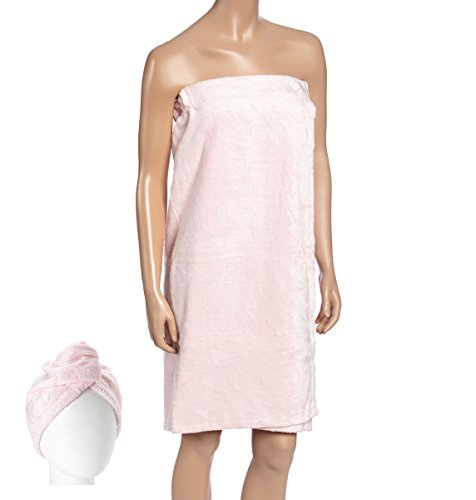 Fabbrica Home Natural Rayon Made From Bamboo Spa Bath Wrap Shower Skirt and Hair Drying Turban (Available in 4 Colors) (One-size, Pink)]()