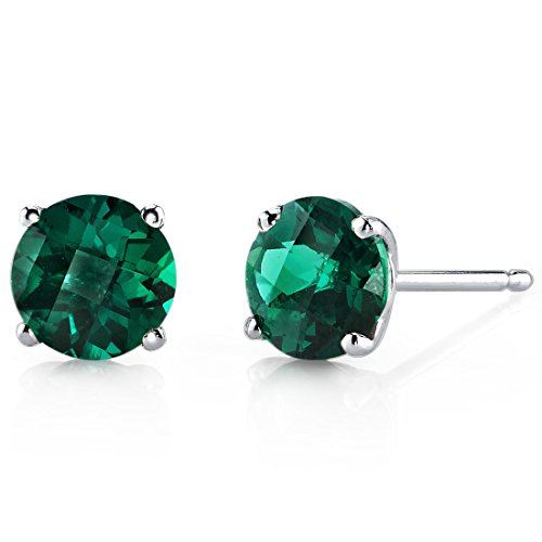 14 Karat White Gold Round Cut 1.50 Carats Created Emerald Stud Earrings ()