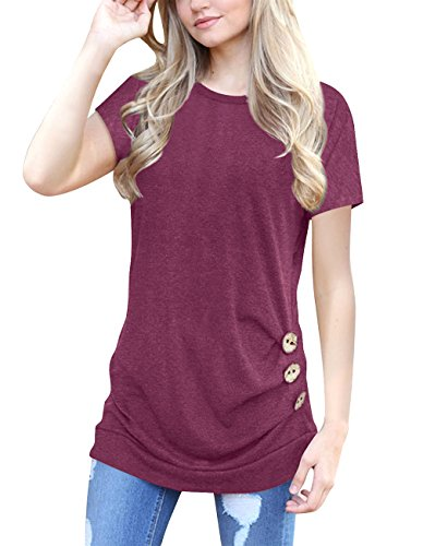 Womens Short Sleeve Blouse Casual Round Neck Loose Tunic Tops Button Decor T Shirts (X-Large, Wine Red)