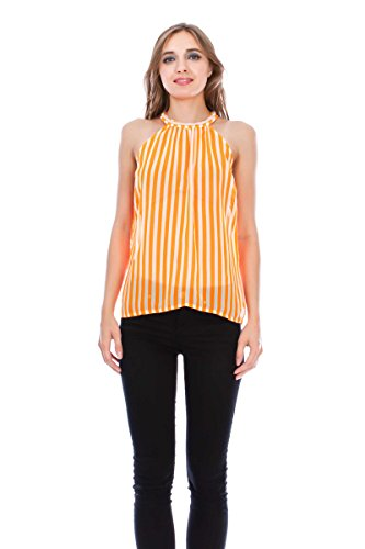 Virgin Only Womens Print Halter Top  510P Stripe Neon Orange  Size S