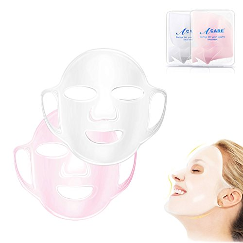 (Auch Set of 2 3D Reusable Facial Silicone Moisturizing Face Mask Cover for Sheet Prevent Evaporation in Clear Box, Clear & Pink)