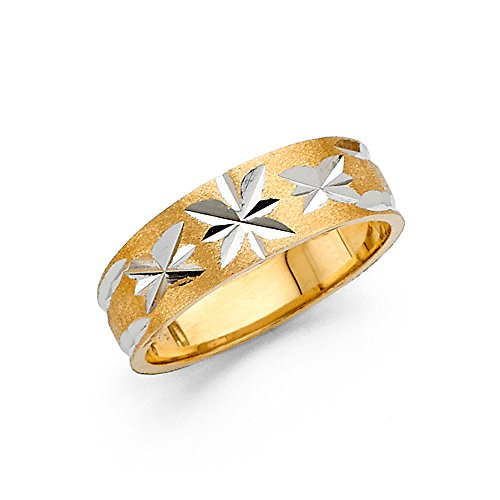 Ioka - 14K Two Tone Solid Gold 6mm Diamond Cut Tapered Womens Wedding Band - Size 7.5
