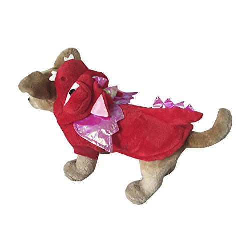Woo Woo Pets Dragon Shaped Clothes Festival Costumes Halloween Cosplay Apparel for Pets (Dog Dragon Costume Pattern)