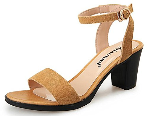 CHFSO Womens Trendy Solid Open Toe Buckle Ankle Strap Mid Chunky Heel Gladiator Sandals Brown HO6PtzPI