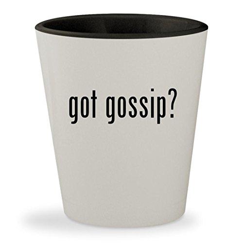 Got Gossip    White Outer   Black Inner Ceramic 1 5Oz Shot Glass