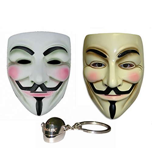 Gmasking V for Vendetta Guy Fawkes Anonymous Mask 2 Pieces+Gmask Keychain -