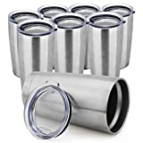 ONEB 20 oz Double Wall Vacuum Insulated Coffee Cup - 18/8 Stainless Steel Travel Mug for Cold & Hot Drinks (Silver 8pack))