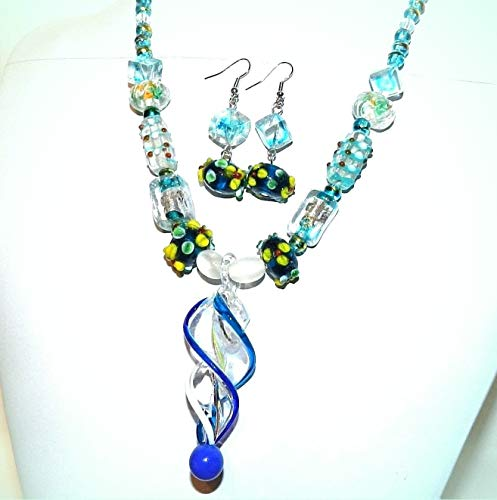 Multi-Colored & Blue Twist Lampworked Glass 18