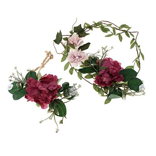 Girls Ladies Floral Crown Flower Headband Wedding Hair Garland Wristband Set (Color - Purple) Cotton Braided Star Blossom
