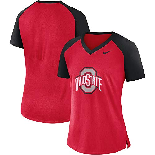Nike Women's Ohio State Buckeyes Fan Raglan V-Neck T-Shirt - Scarlet Red (Medium)