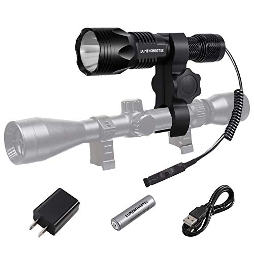 LUMENSHOOTER U8 Cree USB Rechargeable Hunting Light Kit with Remote Switch Scope Mount Predator Hunting Flashlight Torch for Coyote Hog Varmint(Each Kit Only Includes One Color) (White)