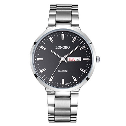 LONGBO Casual Mens Stainless Steel Band Strap Analog Quartz Watch Waterproof Auto Date Day Calendar Business Wristwatches Multifunction Couple Watches For Man ? -