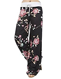 Assivia Womens Wide Leg Yoga Palazzo Pants Casual Printed Drawstring Trousers