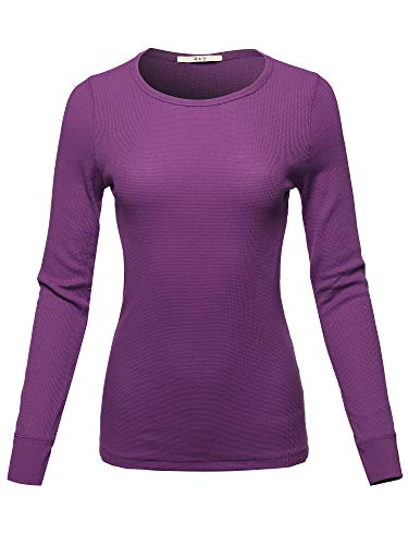 A2Y Women's Basic Solid Long Sleeve Crew Neck Fitted Thermal Top Shirt (S-3XL)