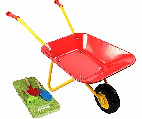 MMP Living Kids Metal Wheelbarrow Plus Tools/Kneepad, Red by MMP Living