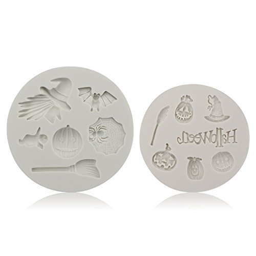 Beasea Candy Making Molds, 2pcs Halloween Molds Witches, Bats, Pumpkins, Brooms, Spiders, Ghosts, Hats Shape Silicone Fondant Chocolate Candy Molds 3D Cake Decoration Mould Cake Baking -
