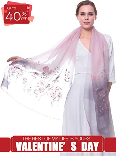 MORCOE Women's Chinese Wool & Silk Joint Delicate Floral Embroidered Soft Long Scarf Light Wrap Party Shawl Gift (GreyPink) (Soft Scarf Floral)