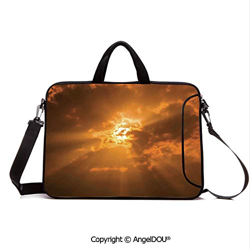 AngelDOU Portable Ultrabook Soft Sleeve Laptop Bag Case Cover Sun Through The Clouds in The Sky Sunburst View Decorating Picture Artwork Compatible with MacBook Asus Acer HP Orange ()