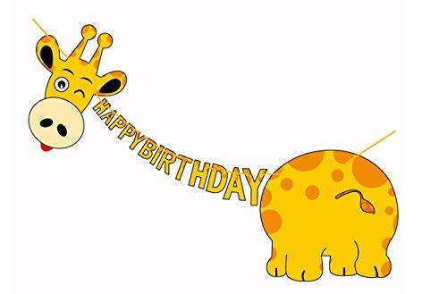 E&L Giraffe Pal Party Themed Decorations Kit, Giraffe Birthday Party Supplies, Birthday Party Banner, Set of 15 Pieces Giraffe Flags