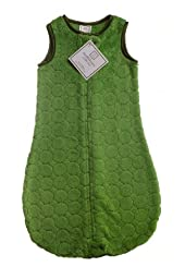 SwaddleDesigns Sleeping Sack with 2-Way Zipper, Cozy Pure Green Puff Circles, 6-12MO