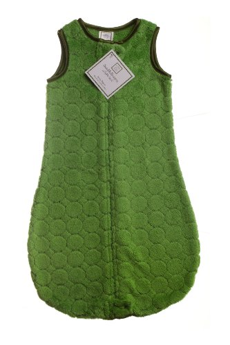 SwaddleDesigns Microfleece Sleeping Sack with 2-Way Zipper, Pure Green Puff Circles, 6-12MO ()