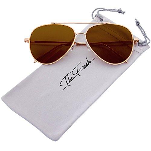 The Fresh Mod Fashion Teardrop Rimless Mirror Flat Lens Metal Frame Aviator Sunglasses (Gold, - Sunglasses Fresh