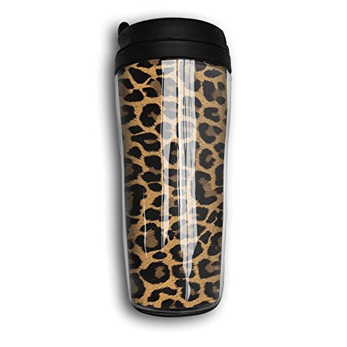 Insulated Water Bottle, Leopard Print Portable Insulated Organic Coffee Mug Carry Hand Cup Reusable Plastic Curve Travel Mug Coffee Tumbler For Women Men Kids Teens Adults