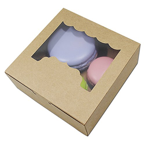 (10 Pcs Brown Kraft Paper Box Party Favor Cookies Macaron Packing Box With Plastic Clear Window Cupcake Storage Display Paper Package Box 13.5 x 13.5 x)