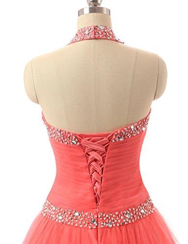 JAEDEN Mujer Cabestro Vestidos de baile Largo Tul Vestido De Quincea?era Rosa
