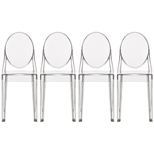 2xhome - Set of 4 (4 Chairs in total!), Clear, Victoria Style Ghost Side Chairs Dining Room Chairs - Victorian Accent Seat - Lounge No Arm Arms Armless Less - Ghost Victoria