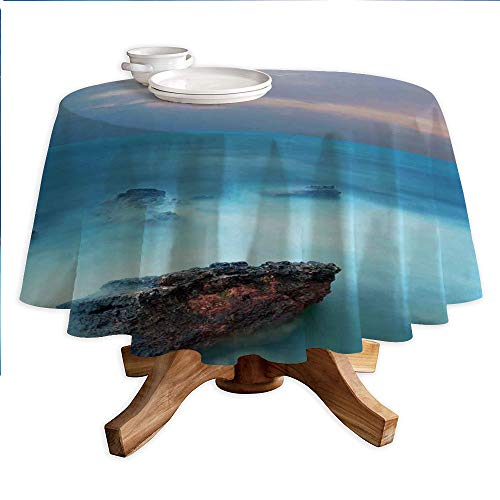 - Lake House Decor Round Polyester Tablecloth,Tropic Sea with Rocks and Storm Flash in The Air Tranquil But Dangerous Epic Scenery,Dining Room Kitchen Round Table Cover,36