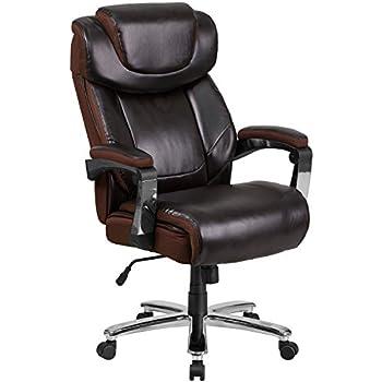 Flash Furniture HERCULES Series Big U0026 Tall 500 Lb. Rated Brown Leather  Executive Swivel Chair