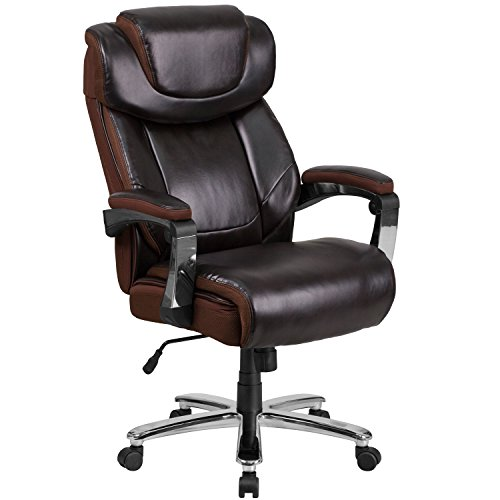Flash Furniture HERCULES Series Big & Tall 500 lb. Rated Brown Leather Executive Swivel Chair with Height Adjustable Headrest (Swivel Desk Chair Leather)