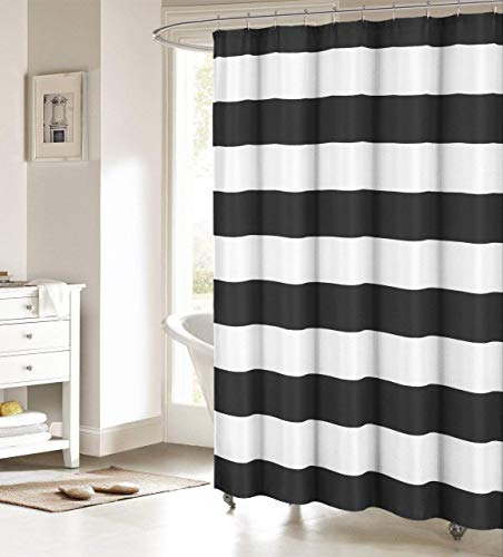 Nautical Stripe Design Shower Curtains Bathroom Accessories Waterproof Fabric Decor Shower Curtain Set Black and White Extra Long 72