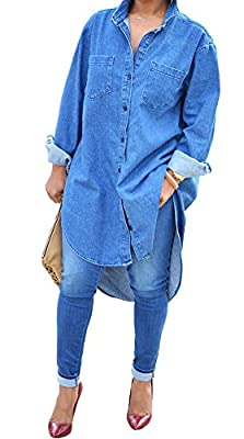 Plaid&Plain Women's Long Sleeve Button Ups Denim Dress Shirt