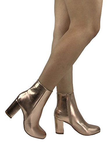 Women's Round Toe Platform High Heels Fashion Ankle Boots Pink - 8