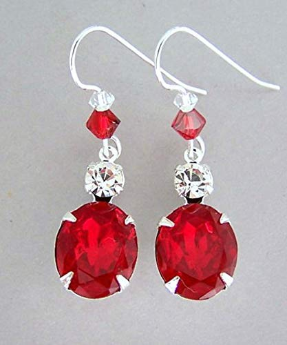 Sparkly Ruby Red Earrings with Vintage Glass and Swarovski Crystal