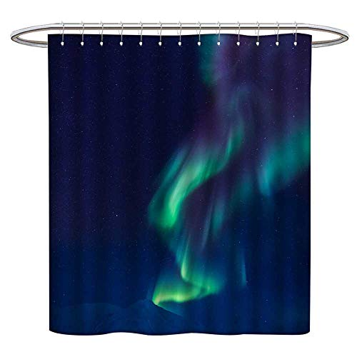 Anniutwo Floral Shower Curtain Polar Northern Lights in The Mountains of Svalbard Longyearbyen Spitsbergen Norway Wallpaper 5 Shower CurtainW72 x L72 ()