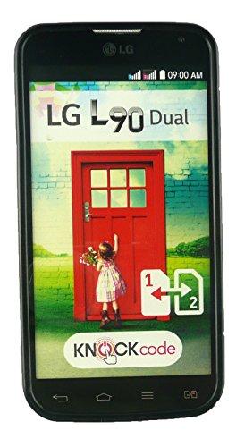Emartbuy® LG L90 Dual Pellicola Protettiva y Lunares TPU Gel Funda Carcasa Case Cover Multicolor Negro Ultrafina a Presión TPU Gel