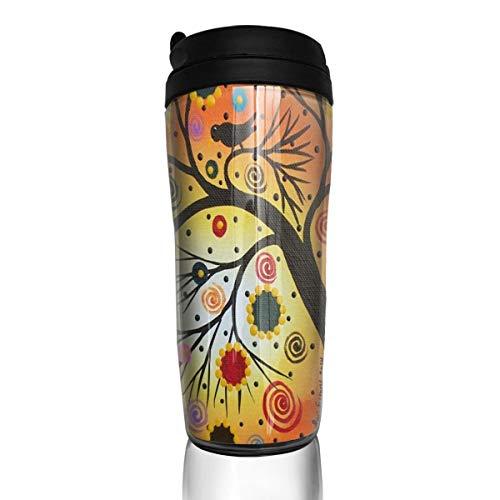 (Coffee Mug Folk Art Black Birds Tree Art Travel Tumbler Insulated Leak Proof Drink Containers Holder Vintage 12 Ounces)