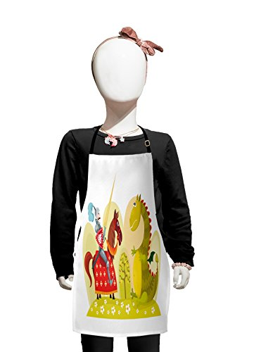 Lunarable Fantasy Kids Apron, Medieval Knight on His Horse against Legendary Monster Dragon Comic Kids, Boys Girls Apron Bib with Adjustable Ties for Cooking Baking and Painting, Lime Green Ruby Ivory]()