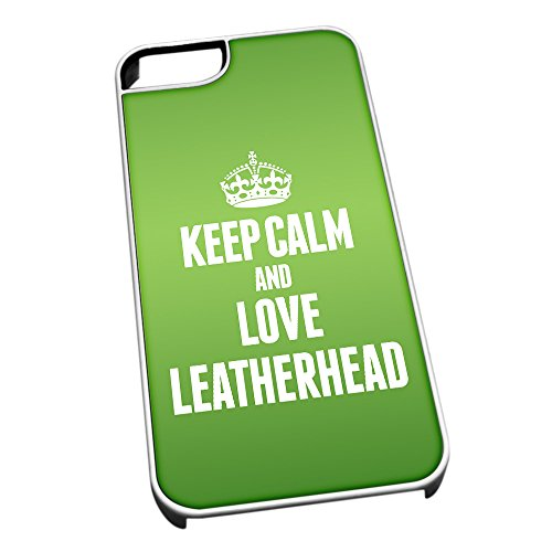 Bianco cover per iPhone 5/5S 0378 verde Keep Calm and Love Leatherhead