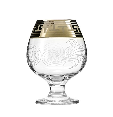 Gold Brandy Glass - Crystal Goose, 13.5 Oz. Brandy Glasses with Gold Rim, Scotch Whiskey Bourbon Snifters on a Stem, Wedding Drinkware, Gift Box Set of 6