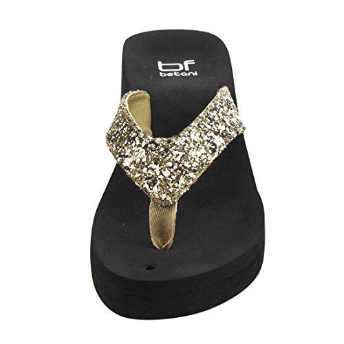 Betani Fh66 Dames Glitter Slip Op String Stijl Platform Wedge Sandalen Goud
