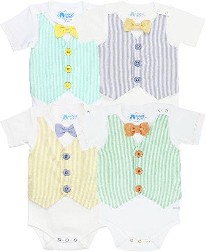 RuggedButts Baby/Toddler Boys Seersucker Vest and Bow Tie One-Piece Bodysuit
