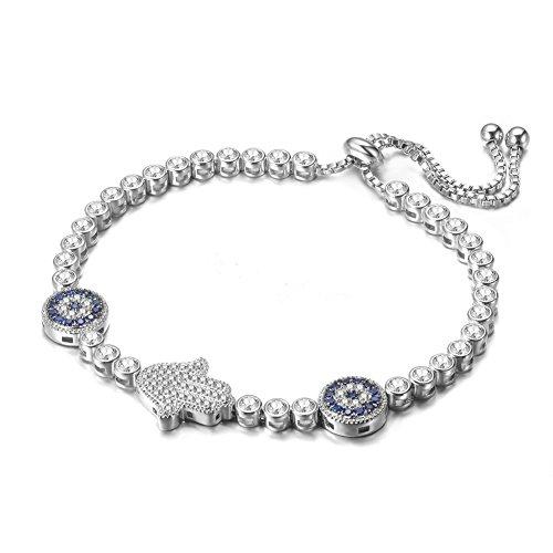Javeny Fashion Jewelry Adjustable Hamsa Hand Evil Eye Cubic Zirconia Wedding Bridal Bracelets for ()