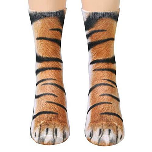 Funny Animal Paw Socks Gag Gifts for White Elephant Gift Exchange (Tiger)